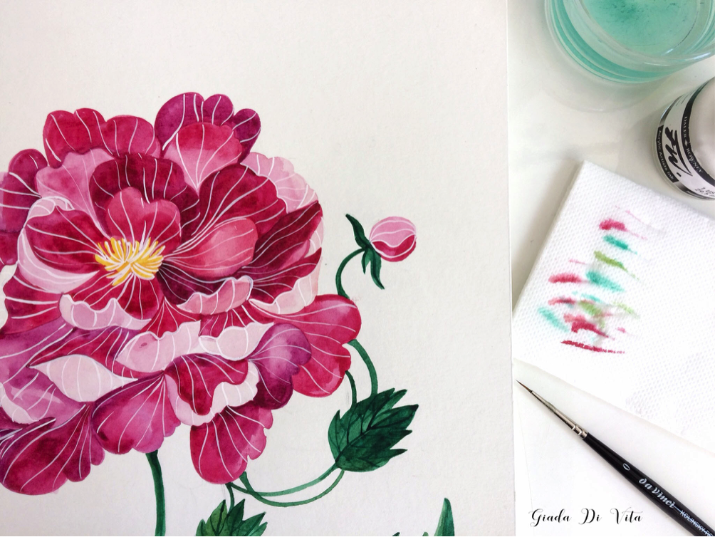 Illustrare ad acquerello  3   dipingere un fiore  d928e0abb3c5