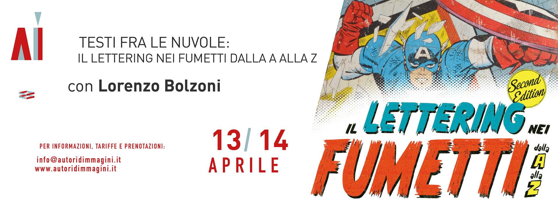 Testi tra le nuvole – Il lettering nei fumetti dalla A alla Z con Lorenzo Bolzoni