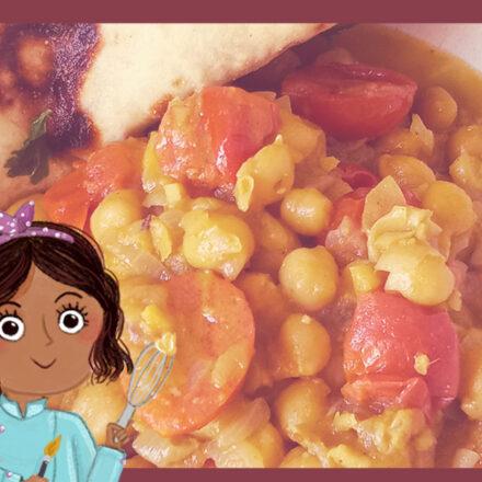 Ricette Illustrate con Sri – Curry di ceci e pane Naan